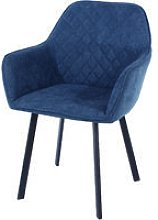 blue fabric upholstered armchairs with black metal