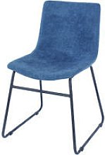 blue fabric upholstered dining chairs with black