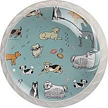 Blue Farm Animals 4PCS Round Shape Cabinet Knobs