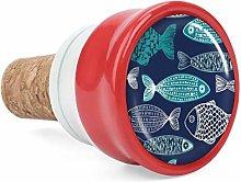 Blue Fish Wine Cork Wine Bottle Stoppers Ceramic