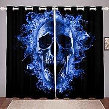 Blue Flame Skull Curtain Boys Teens Death Skeleton