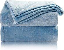 Blue Fleece Plaid Blanket 150x200 cm - Soft and