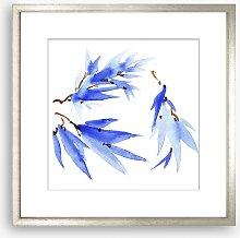 Blue Flowers I Wood Framed Print & Mount, 58 x