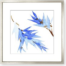 Blue Flowers II Wood Framed Print & Mount, 58 x