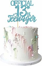 Blue Giltter Official Teenager 13 Cake Topper 13th