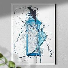 Blue Gin Bottle - Wall Art Print - A3 Print Only