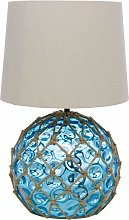 Blue Glass Buoy Table Lamp
