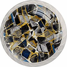 Blue Golden Geometry 4 Pieces Crystal Glass
