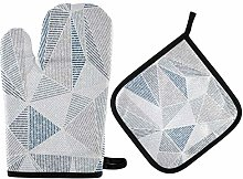 Blue Gray Modern Oven Mitts Pot Holders Sets Oven