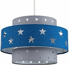 Blue & Grey Cut Out Star 2 Tier Ceiling Light