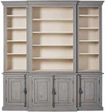 Blue-Grey Recycled Pine 4-Door Bookcase Maude