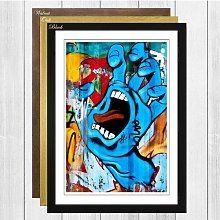 Blue Hand Wall Graffiti Framed Painting Print Big