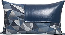 Blue Leather Stitching Sofa Cotton Cushion Cover