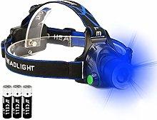 Blue Light Headlamp, Blue LED Flashlight Headlight