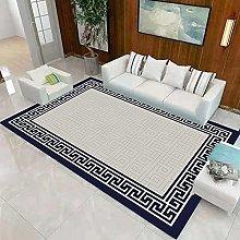 Blue line border Fluffy Rug for the Bedroom,