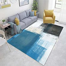 Blue Lounge Rugs Abstract ink pattern living room
