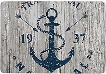 Blue Nautical Anchor 1937,Area Rugs Washable
