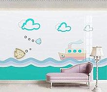 Blue Ocean Small Fish Steamer Modern Mural Custom