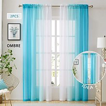 Blue Ombre Faux Linen Sheer Curtains for Bedroom