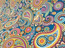 BLUE PAISLEY Upholstery Curtain Cotton Fabric