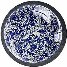 Blue Pattern Crystal Drawer Handles Furniture