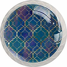 Blue Pattern White Crystal Drawer Handles