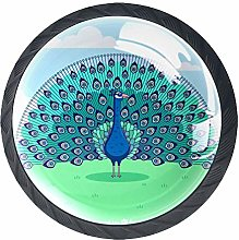 Blue Peacock Crystal Drawer Handles Furniture