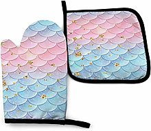 Blue Pink Mermaid Fish Scales Non-Slip Oven Gloves