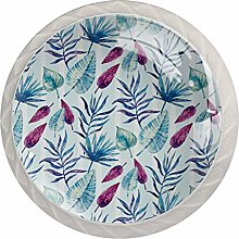 Blue Pink Tropical Leaves 4 Pieces Crystal Glass