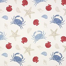 Blue, Red and Taupe Seashells and Crabs Oilcloth