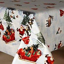 Blue Santas Grotto Christmas PVC Vinyl Oilcloth