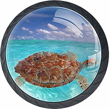 Blue Sea Turtle Crystal Drawer Handles Furniture