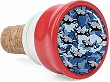 Blue Shark Camo Wine Cork Wine Bottle Stoppers