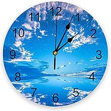 Blue Sky Silent Non Ticking Wall Clock, Battery