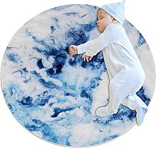 Blue sky style, Printed Round Rug for Kids Family