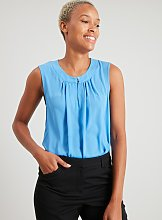 Blue Sleeveless Keyhole Neck Top - 18