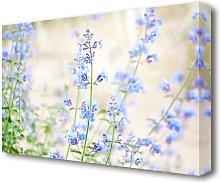 Blue Small Flowers Flowers Canvas Print Wall Art