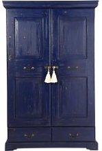 Blue Solid Mango Wood 2-Door 2-Drawer Wardrobe