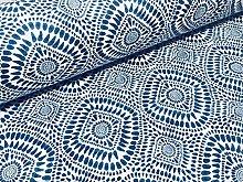 Blue Spanish Tile Fabric Floral Mandala Curtain