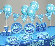 Blue Sparkle 20th Birthday Party Pack