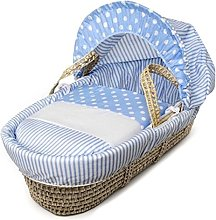 Blue Spots & Stripes Palm Moses Basket with Full