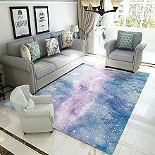 Blue star river Multicoloured Cotton Rug for