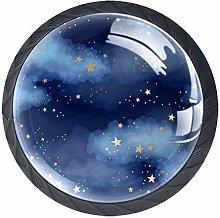 Blue Starry Sky Knob Handles Door Knobs Cabinet