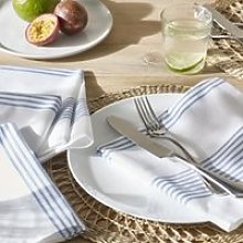 Blue Stripe Napkins - Set of 4, White Blue, One