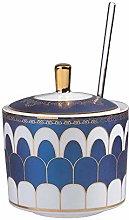 Blue Sugar Bowl Dispenser Salt Container Ceramic