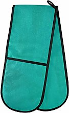 Blue Teal Color Art Watercolor Cooking Gloves For