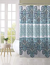 Blue Teal Turquoise White Fabric Shower Curtain: