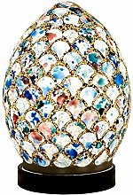 Blue Tile Mosaic Glass Vintage Egg Table Lamp 20cm