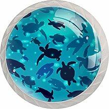 Blue Turtle White Crystal Drawer Handles Furniture