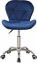 Blue Velvet Desk Chair for Home Office Ergonomic